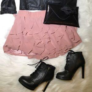 H&M - Pink Fringe Mini Skirt - 10